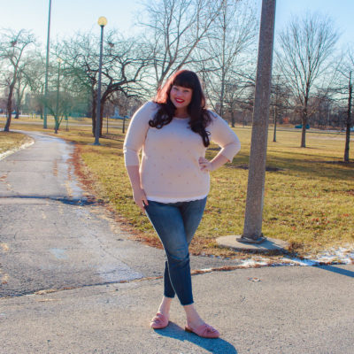 Plus Size Winter Style, Pearl Pink Sweater, Avenue, Chicago Blogger, Chicago Plus Size Model, Amber McCulloch, Plus Size Blogger, Style Plus Curves