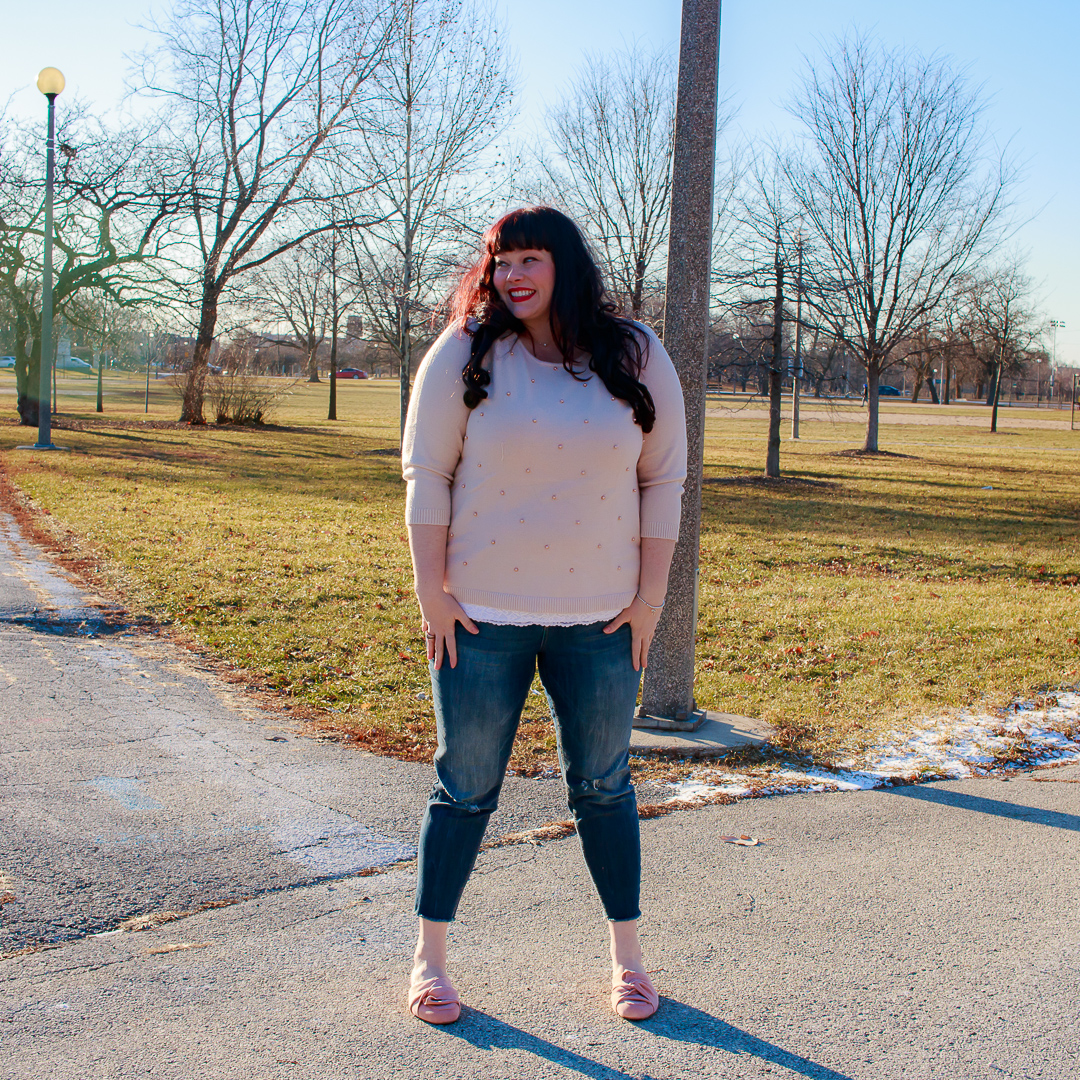 Plus Size Winter Style, Pearl Pink Sweater, Pearl Embellished, Plus Size Sweater, Pink Mules, Plus Size Blogger, Style Plus Curves, Chicago Blogger
