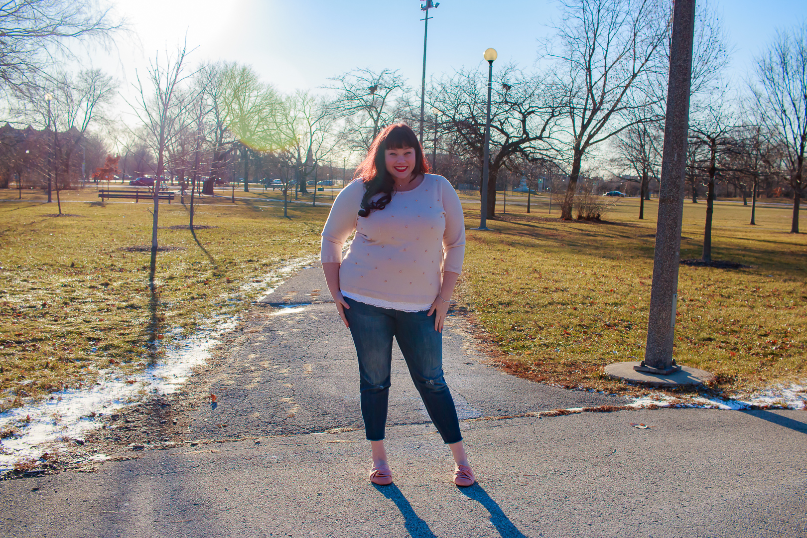 Plus Size Winter Style, Pearl Pink Sweater, Avenue, Chicago Blogger, Chicago Plus Size Model, Plus Size Blogger, Style Plus Curves