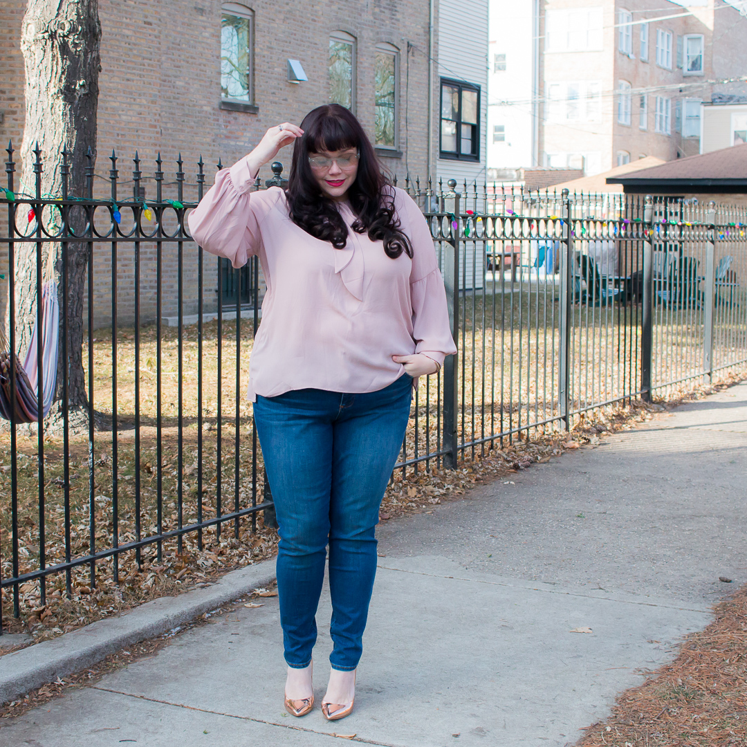 Stitch Fix Plus Size Review, plus size pink top, Chicago Blogger, Chicago Plus Size Model, Amber McCulloch, Plus Size Blogger, Style Plus Curves