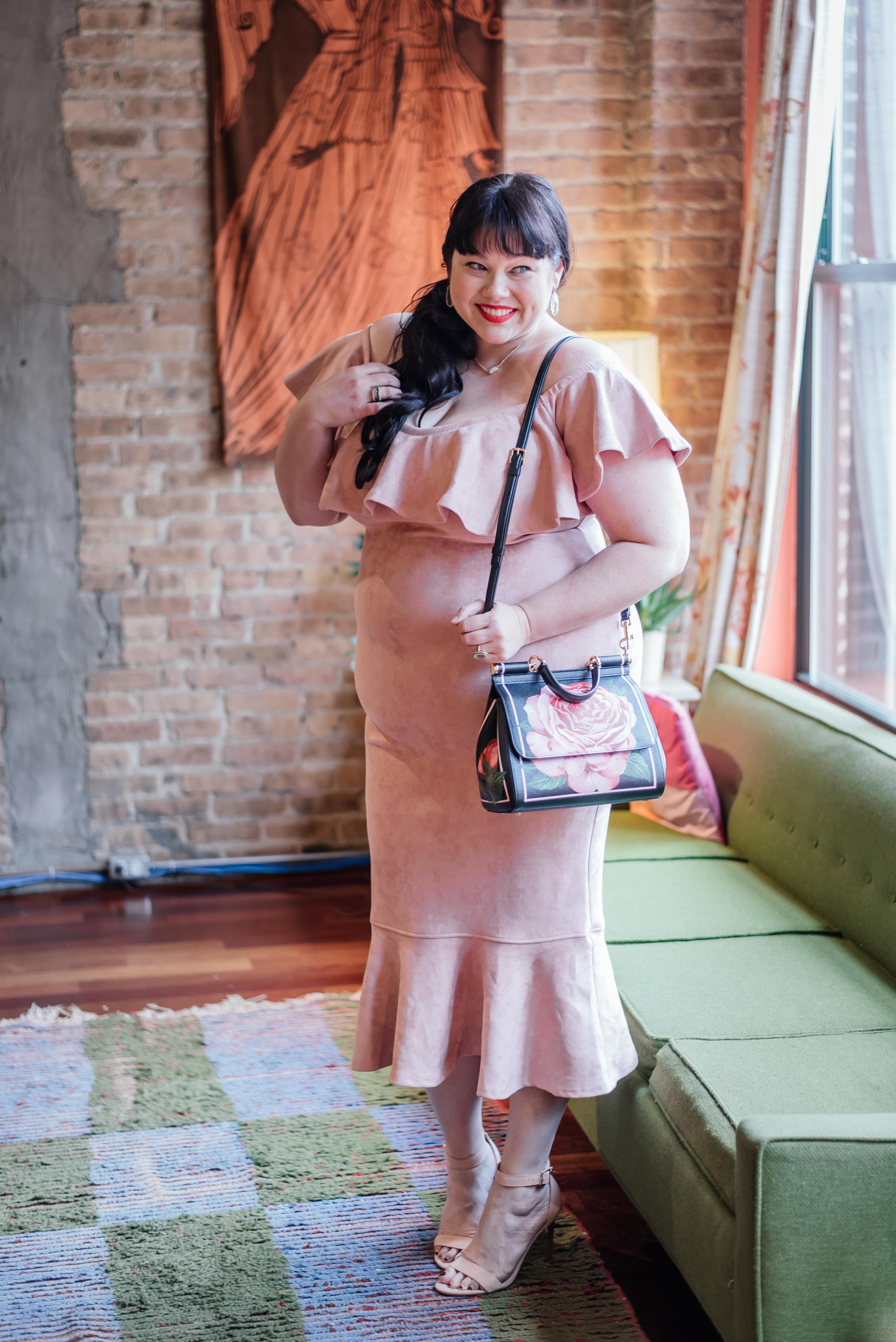 Plus Size Valentine's Day Look, Fashion Nova Curve, Pink Suede Ruffle Dress, Top Plus Size Blogger