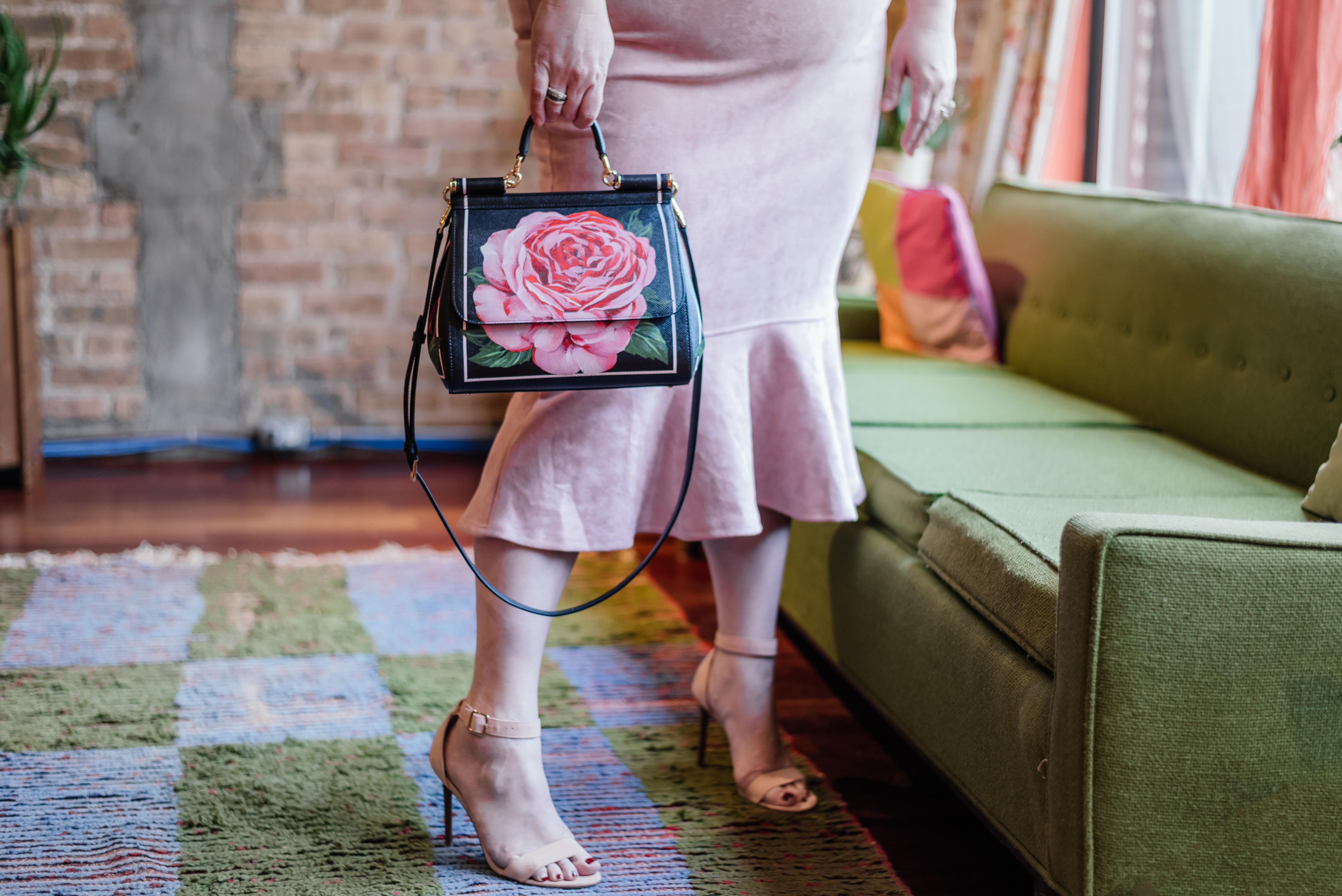 Dolce & Gabbana Rose Painted Purse, Fashion Nova Curve dress, Valentine's Day Style
