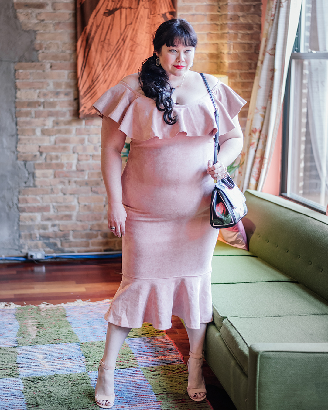 Plus Size Valentine's Day Look, Fashion Nova Curve, Pink Suede Ruffle Dress, Plus Size Blogger