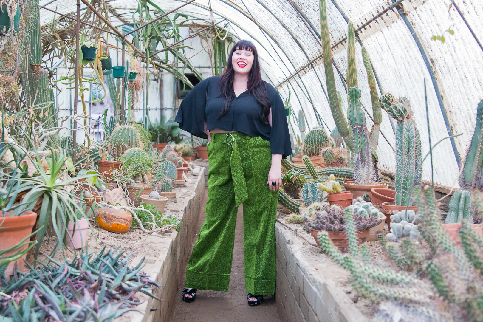 Premme High Waisted Glitter Pants, Cactarium, Green Plus Size Pants, Style Plus Curves, Amber McCulloch