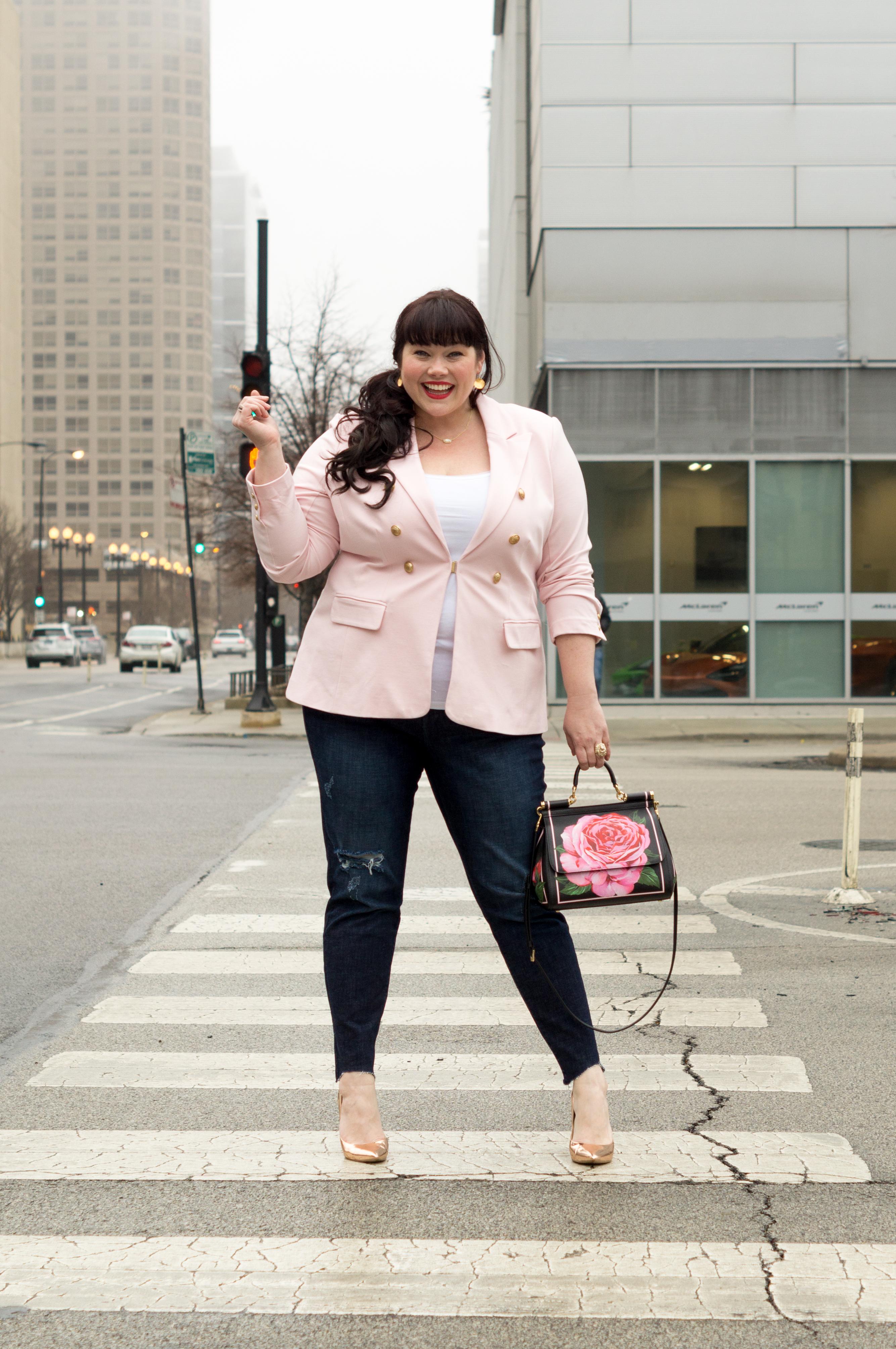 Plus Size Valentine's Day Look, Pink Blazer, Lane Bryant Blazer, Style Plus Curves, Chicago Plus Size Blogger, Top Plus Size Blogger