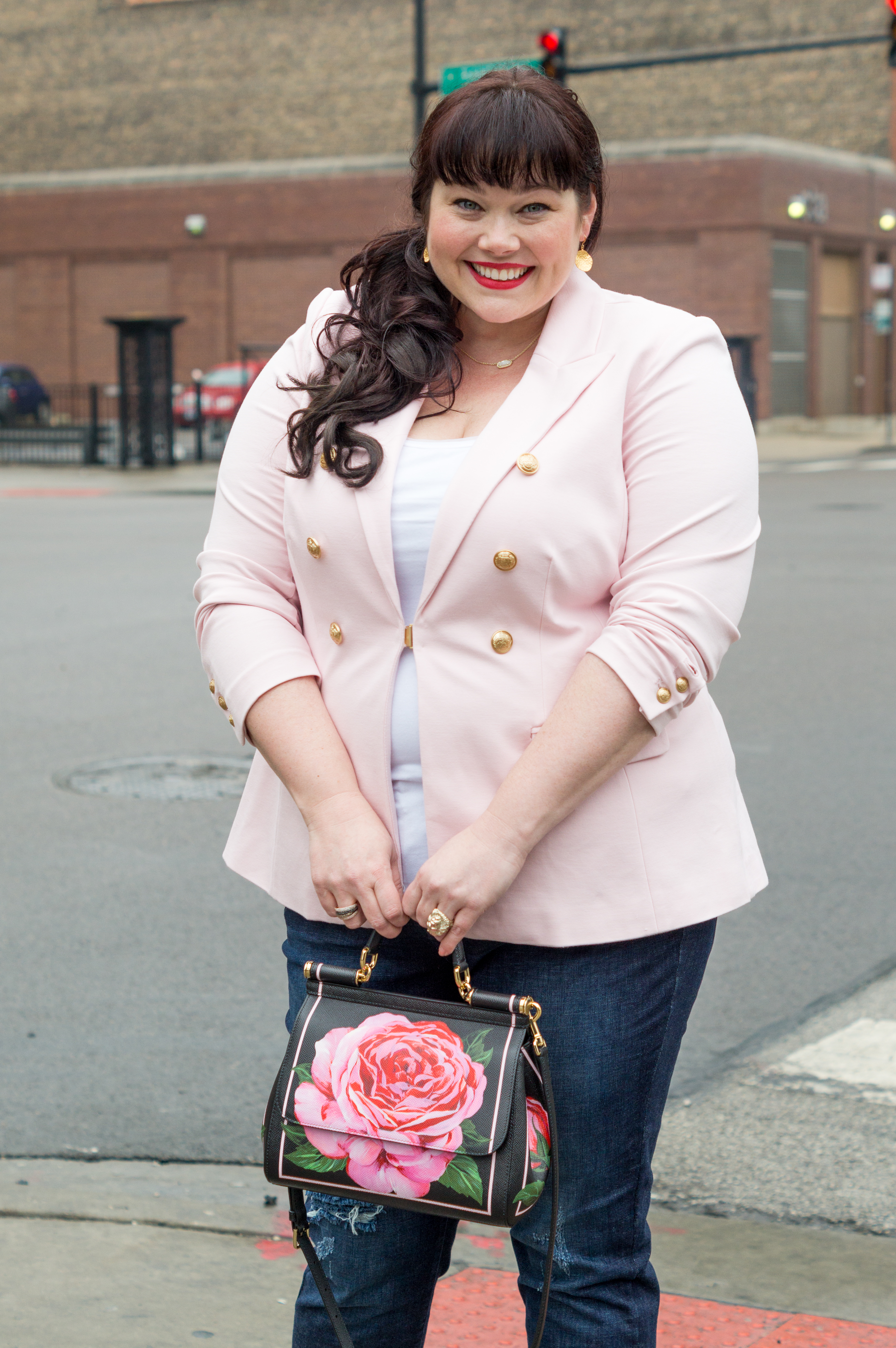 Plus Size Valentine's Day Look, Pink Blazer, Lane Bryant Blazer, Style Plus Curves, Chicago Model, Amber McCulloch, Top Plus Size Blogger