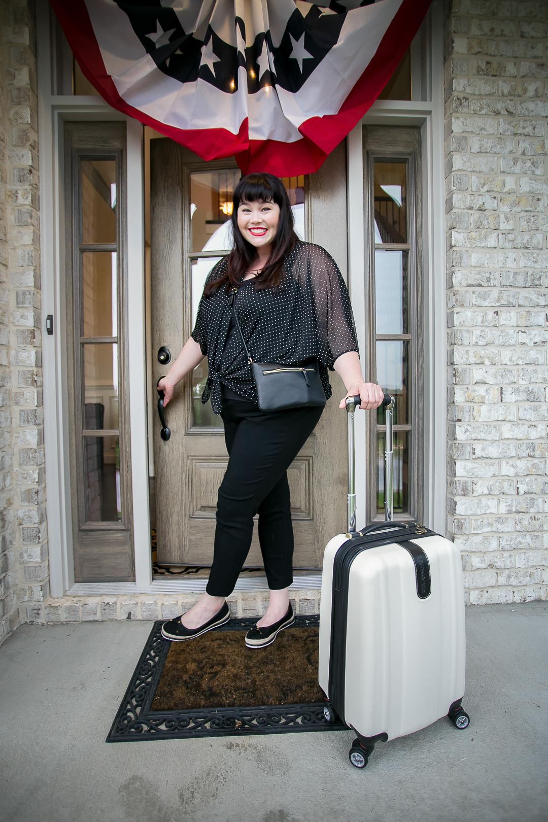 Plus Size Capsule Wardrobe, Avenue, Amber McCulloch, Style Plus Curves, Plus Size Blogger, Polka Dot Mesh Top, Travel Wardrobe