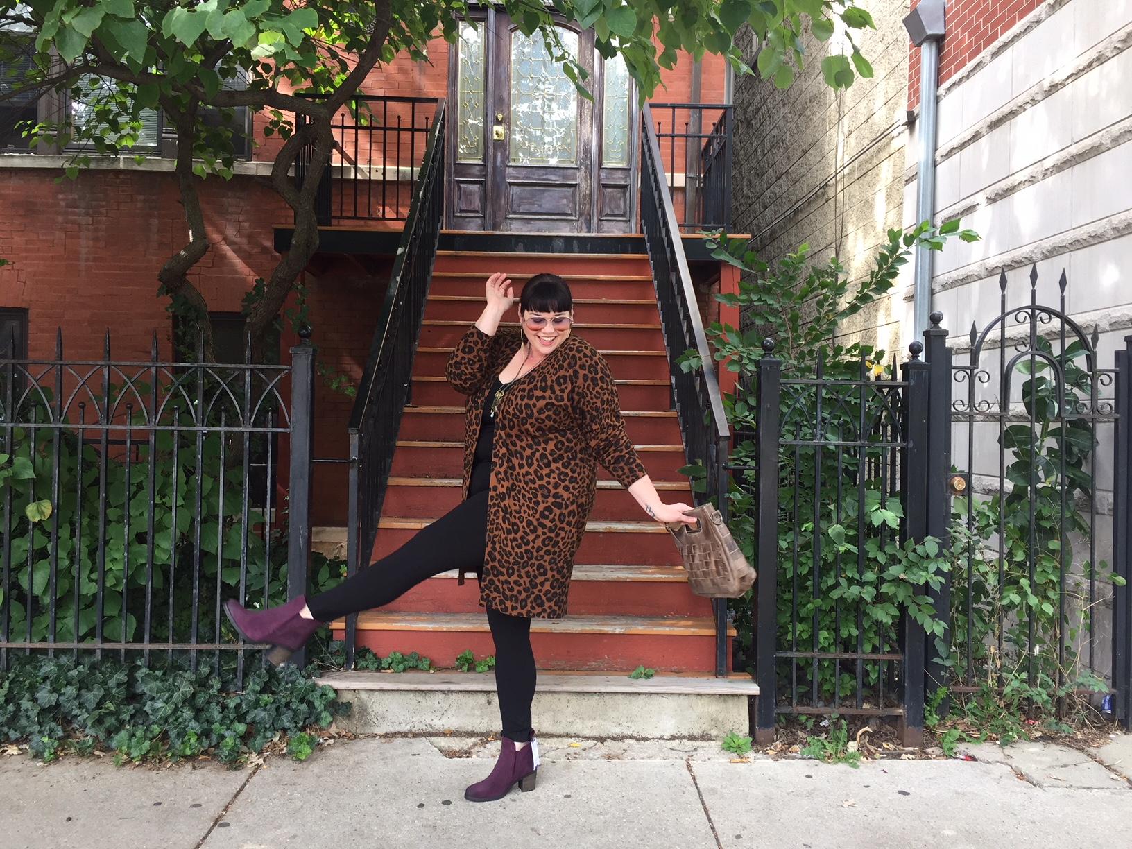 Plus Size Leopard Print Cardigan