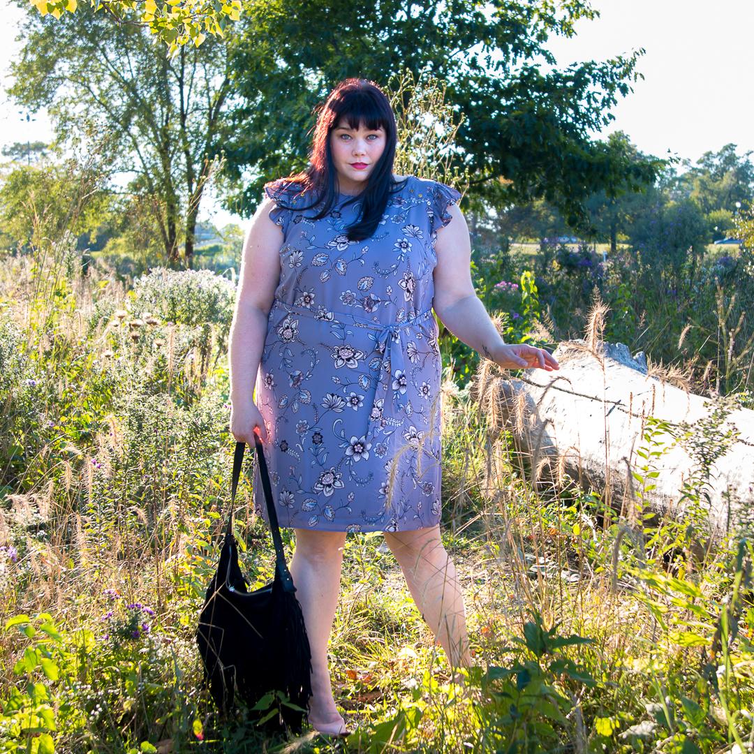 Chicago Plus Size Blogger Amber in Purple Loft Plus Size Dress
