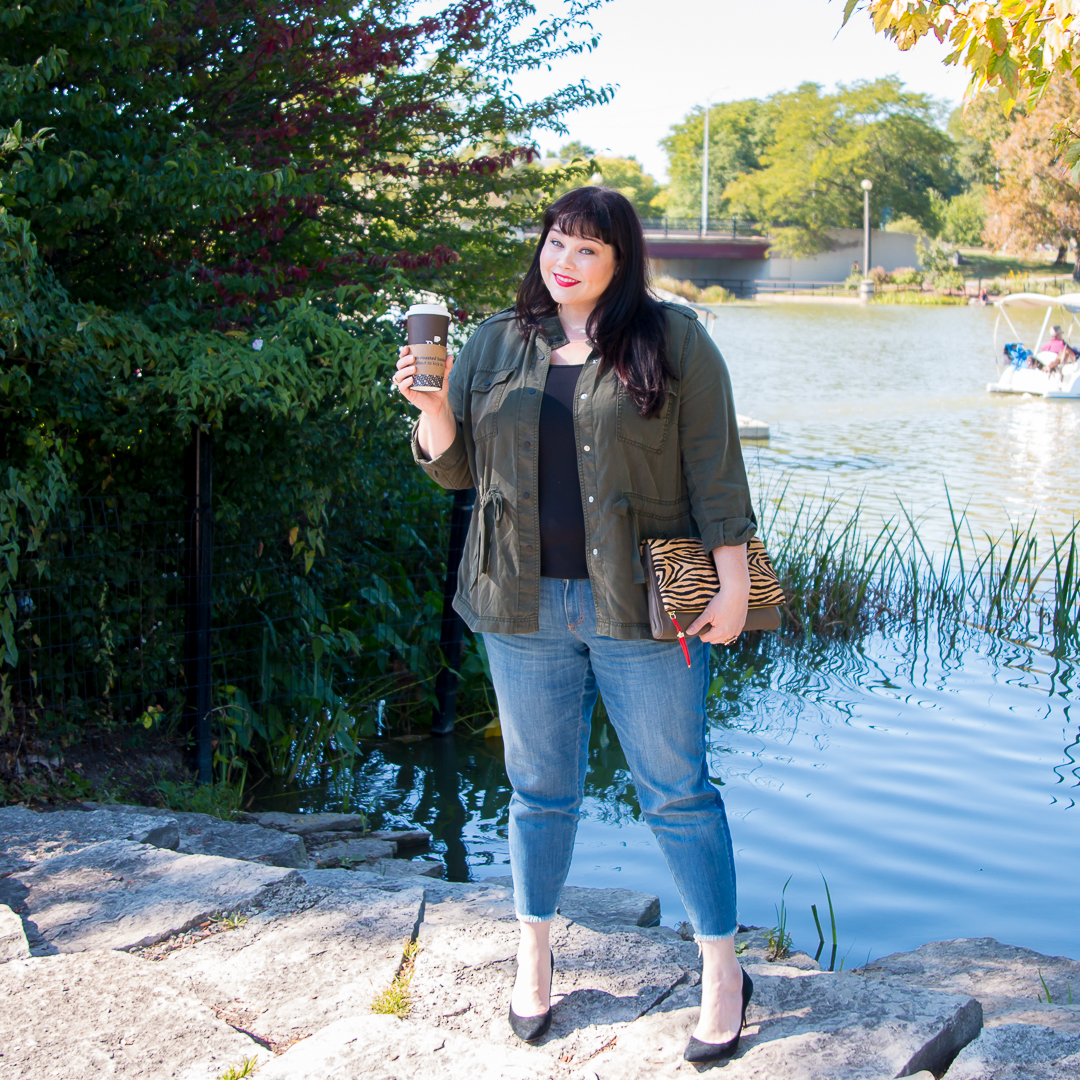 Plus Size Model Amber in Chicago wearing Loft Plus Size clothes