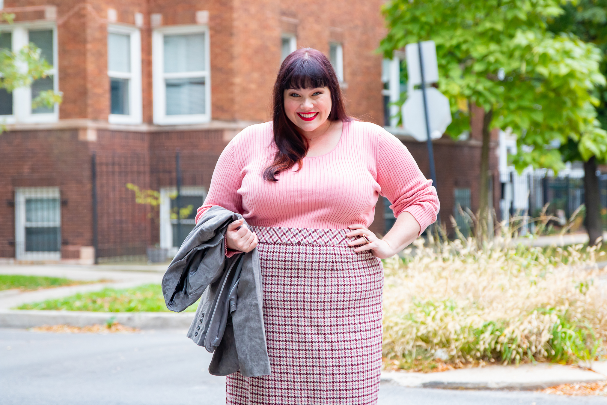Plus Size Pink Sweater and Plaid Skirt