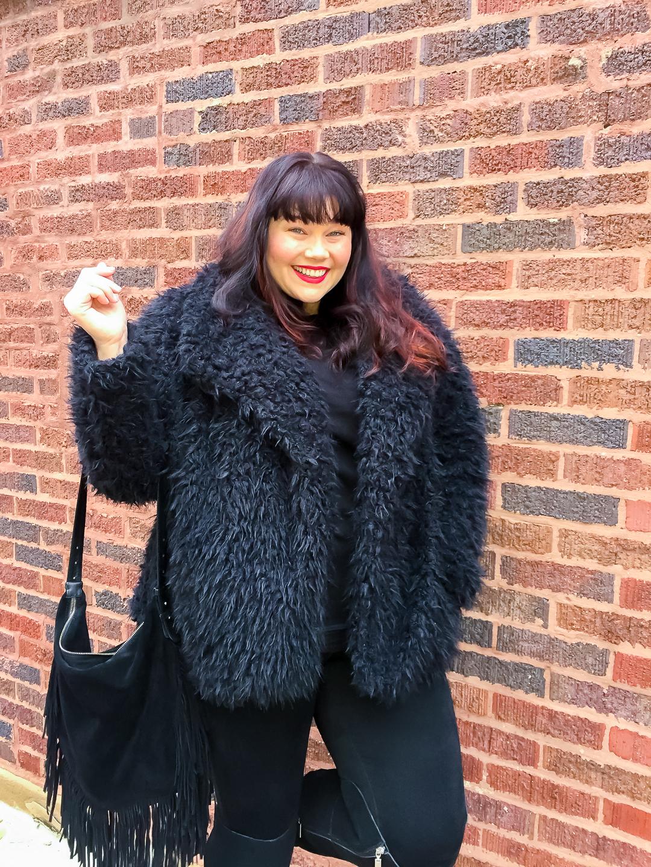 Plus Size Model Amber in Stitch Fix Faux Fur Jacket
