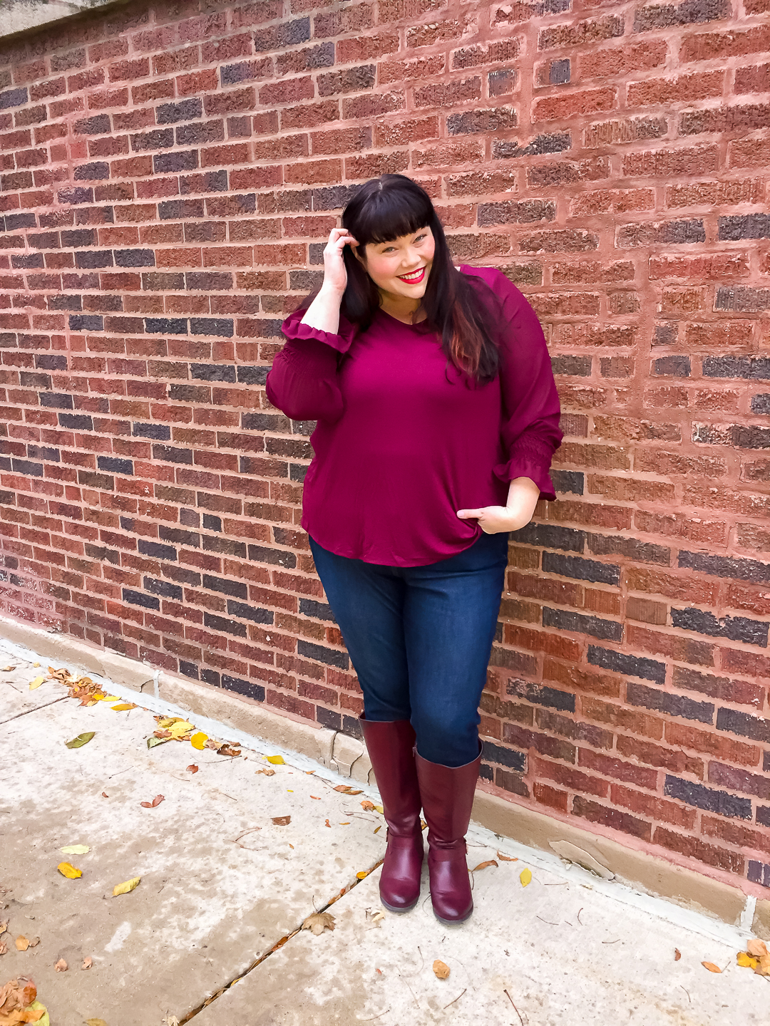 Burgundy Top with Sheer Gathered Sleeves, plus size tops