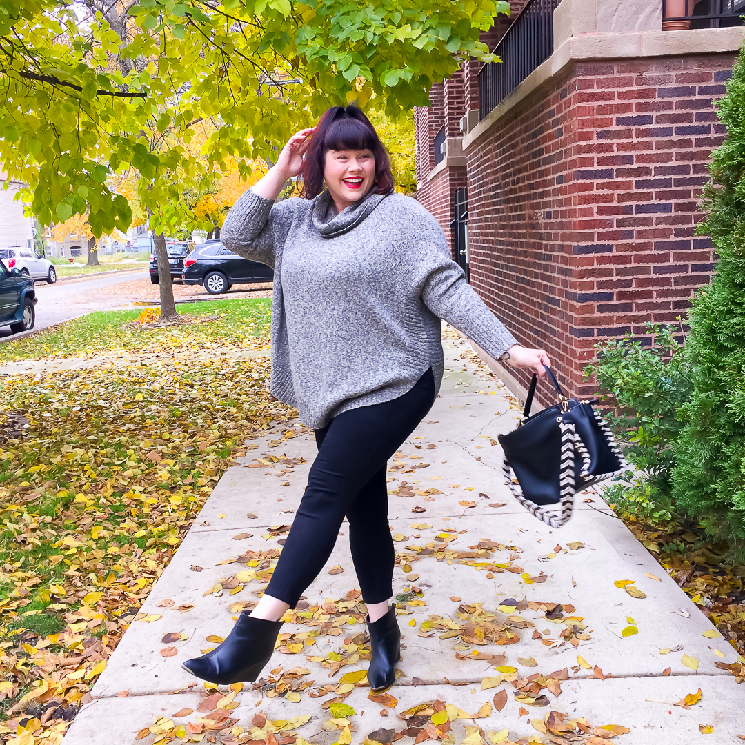 Fall Fashion is Fun! Amber from Style Plus Curves wears knit poncho and leggings