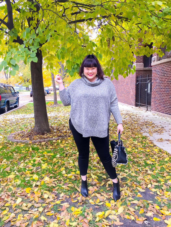 Gray knit poncho from Stitch Fix