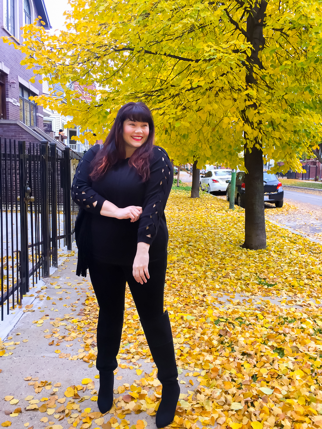 Plus Size Black Sweater with Statement Sleeves