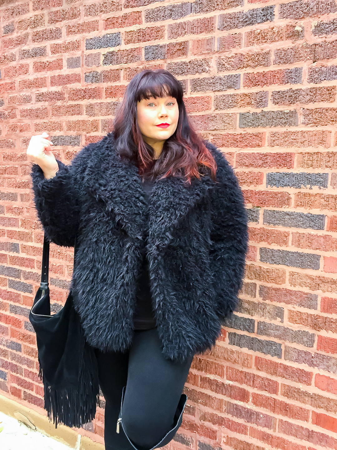 Chicago Blogger Amber from Style Plus Curves in Black Faux Fur Jacket