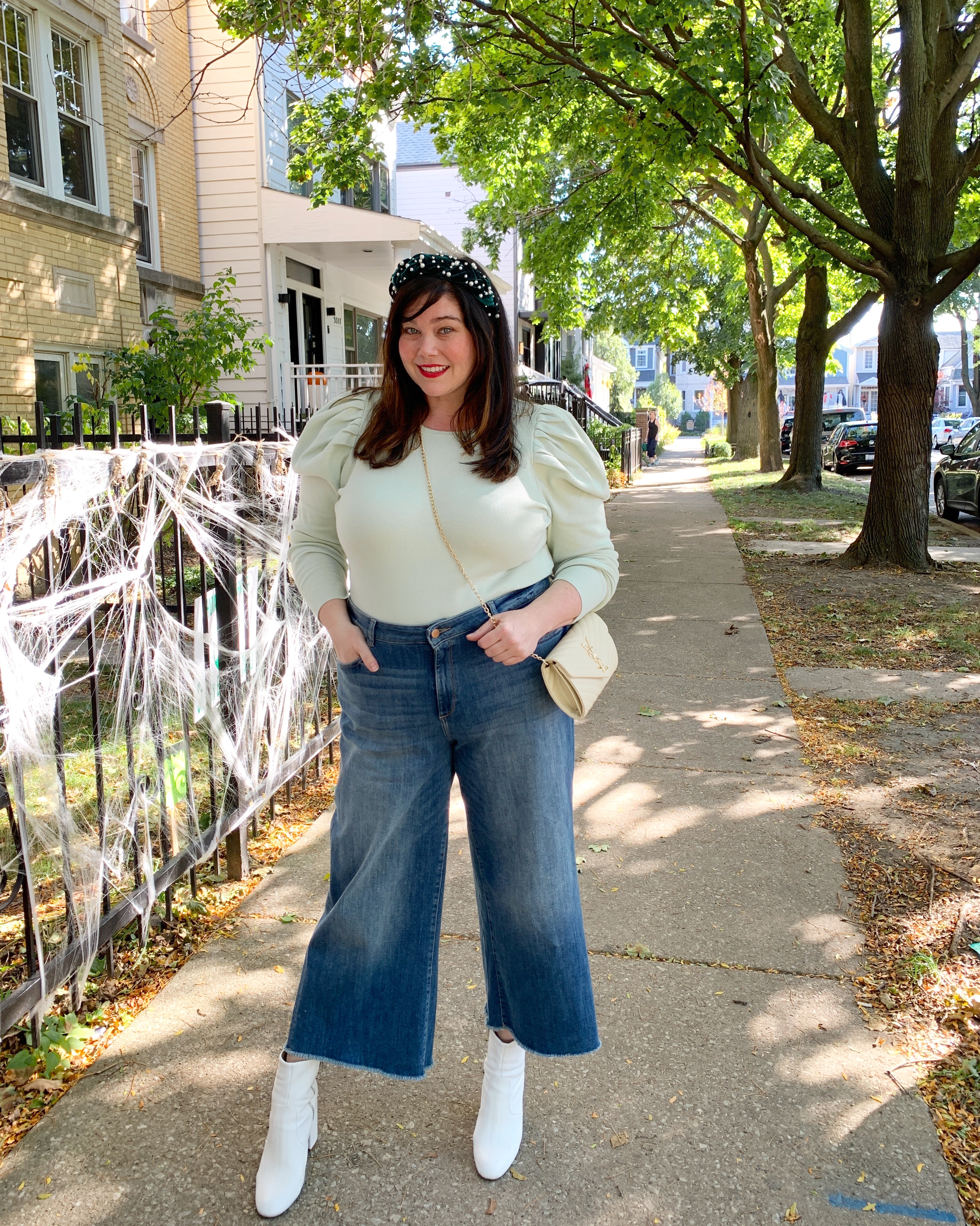 Plus Size Puff Sleeve Top Fall Outfit